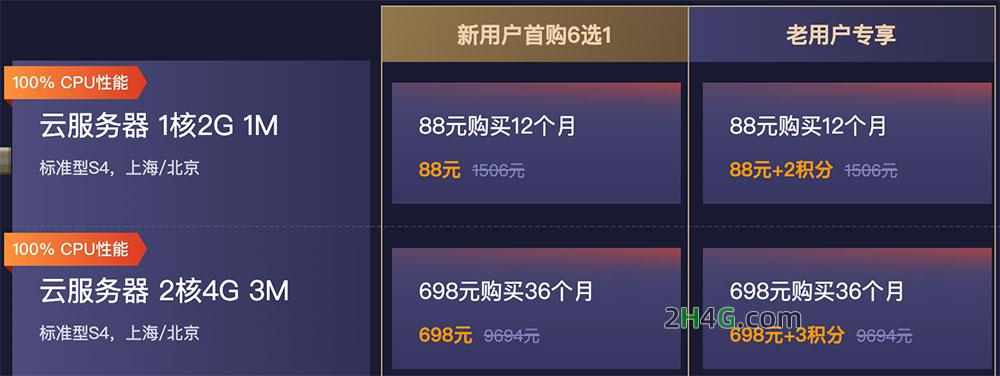 腾讯云双十一2核4G服务器优惠