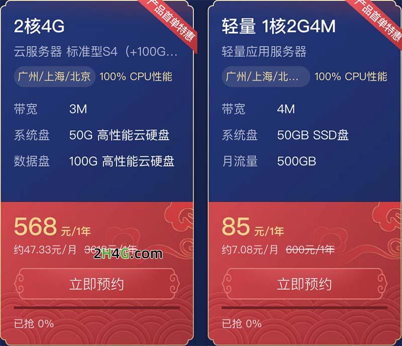 腾讯云2核4G服务器优惠价